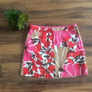 J. Crew Pink & Tan Floral Print Pencil Skirt
